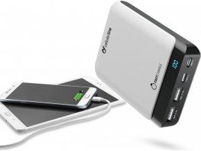 Prémiová powerbanka CellularLine PowerUp s Usb-C, 10000 mAh, bílá