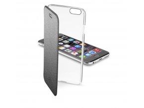 Průhledné pouzdro typu kniha CellularLine Clear Book pro Apple iPhone 6, černé