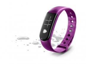 Bluetooth fitness náramek CellularLine EASYFIT TOUCH HR s monitorem srdečního tepu, fialový - ROZBALENO