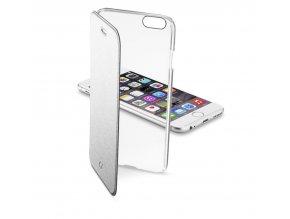 Průhledné pouzdro typu kniha CellularLine Clear Book pro Apple iPhone 6/6S, stříbrné
