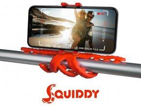 """Flexibilní držák s přísavkami CELLY Squiddy pro telefony do 6,2"""", červený"""
