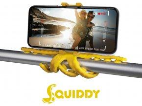 """Flexibilní držák s přísavkami CELLY Squiddy pro telefony do 6,2"""", žlutý"""