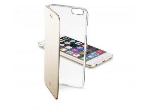 Průhledné pouzdro typu kniha CellularLine Clear Book pro Apple iPhone 6/6S, zlaté