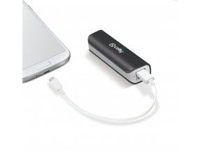 Záložní baterie CELLY Powerbank s USB výstupem a microUSB kabelem, 2600 mAh, 1A, černá