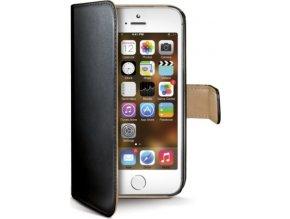 Pouzdro typu kniha CELLY Wally pro Apple iPhone 5/5S/SE, PU kůže, černé