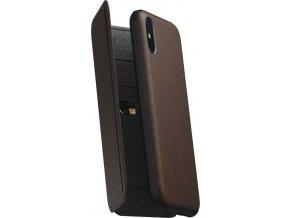 Nomad Folio Leather Tri-Fold, brown - iPhone XS/X