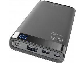 Prémiová powerbanka CellularLine FREEPOWER MANTA, 12000mAh, USB-C + USB port, černá