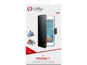 Pouzdro typu kniha CELLY Wally pro Apple iPhone 7/8, PU kůže, černé