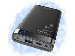 Prémiová powerbanka CellularLine FREEPOWER MANTA PRO+, 12000mAh, USB-C + USB port, černá