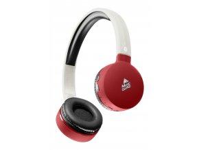 Bluetooth sluchátka MUSIC SOUND s hlavovým mostem a mikrofonem, bílo-červená