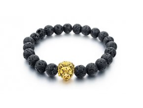 Lávový náramek Clearo Luxury Bracelet Lion - black/gold