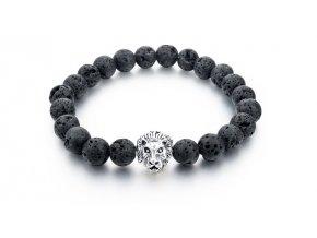 Lávový náramek Clearo Luxury Bracelet Lion - black/silver