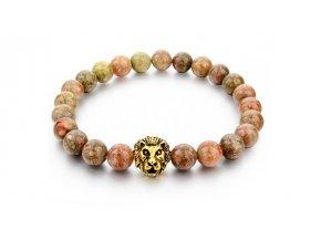 Náramek z přírodních kamenů Clearo Luxury Bracelet Lion - brown/gold
