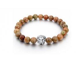 Náramek z přírodních kamenů Clearo Luxury Bracelet Lion - brown/silver