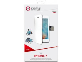 Pouzdro typu kniha CELLY Wally pro Apple iPhone 7, PU kůže, bílé