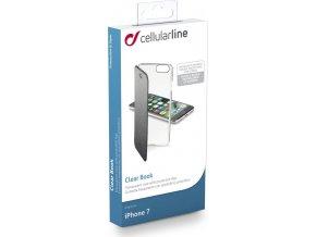 Průhledné pouzdro typu kniha CellularLine Clear Book pro Apple iPhone 7/8, černé
