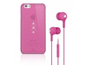 White Diamonds Crystal Earphone bundle pro iPhone 6 6S růžový