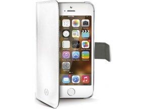 Pouzdro typu kniha CELLY Wally pro Apple iPhone 5/5S/SE, PU kůže, bílé