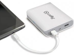 Powerbanka CELLY s 2x USB výstupem, microUSB kabelem a LED svítilnou, 8000 mAh, 2.1A, bílá