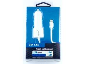 Autonabíječka TD-LTE 2v1 s USB a lightning kabelem