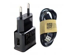 Černý nabíjecí adaptér + kabel s Micro USB pro Samsung Galaxy a jiné