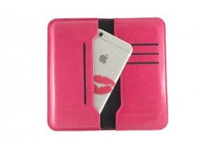 Pouzdro s peněženkou Clearo Business Magnetic Wallet XL pro iPhone 6 Plus/6S Plus/7 Plus/8 Plus - růžové
