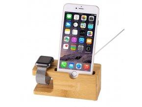 dokovaci stanice stojanek clearo bambusovy pro iphone a apple watch