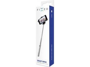 Kompaktní selfie stick FIXED Snap Mini, spoušť přes 3,5 mm jack, stříbrný 2