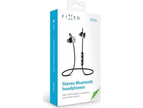 Stereo bluetooth sluchátka s mikrofonem FIXED Steel, černá
