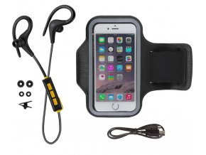Pack sportovních bezdrátových sluchátek KITSOUND RACE s univerzálním pouzdrem Armband, černá