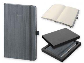 Poznámkový zápisník s gumičkou NOTY 130x210 mm, šedý
