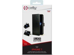 Pouzdro typu kniha CELLY Wally pro Apple iPhone 7:8, PU kůže, Black Edition 1