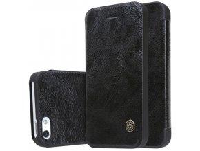 Flipové kožené pouzdro Nillkin Qin Book pro iPhone 5/5S/SE, black