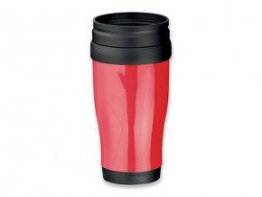 MARIO plastový termohrnek s dvojitou stěnou, 400 ml, červená
