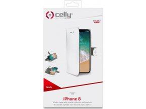 Pouzdro typu kniha CELLY Wally pro Apple iPhone X, PU kůže, bílé