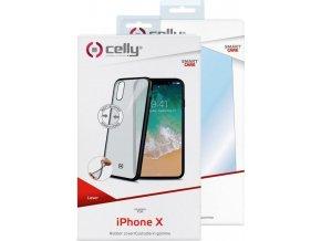 Kryt TPU CELLY Laser - lemování s matným kovovým efektem pro iPhone X, černé