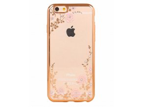 Kryt Clearo Crystal Flower pro iPhone 6/6S, gold