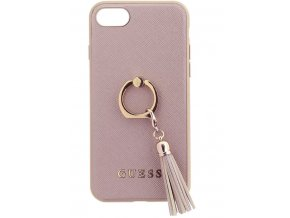 Luxusní kryt GUESS Saffiano Ring Hard Case Beige pro iPhone 7/8, Pink