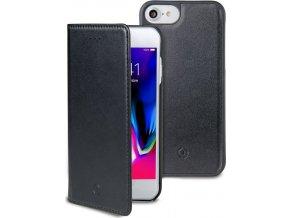Magnetické pouzdro typu kniha CELLY GHOSTWALLY pro Apple iPhone 7/8, kompatibilní s magnetickými držáky, černé