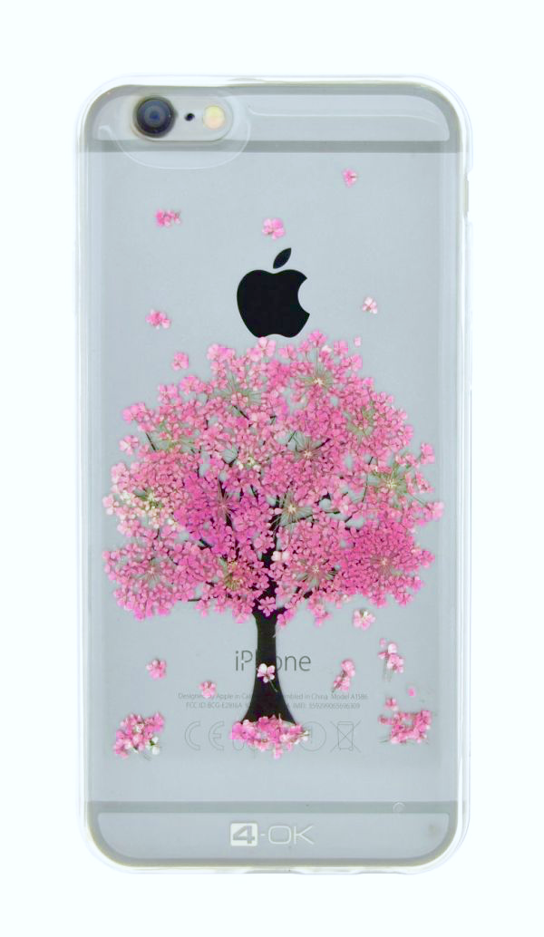 Kryt/Pouzdro 4-OK FLOWER COVER PINK TREE pro Apple iPhone 6/6S
