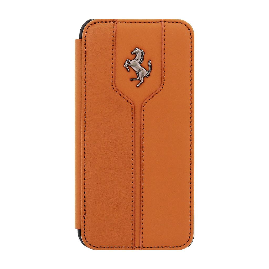 Pouzdro Ferrari Monte Carlo Kožené Folio pro iPhone 5/5S/SE Kamel