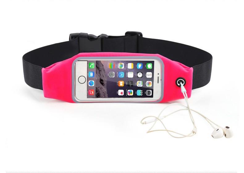 """Sportovní voděodolné pouzdro / ledvinka na pas na mobilí telefon - univerzální (4.7"""") Barva: Tmavě růžová"""