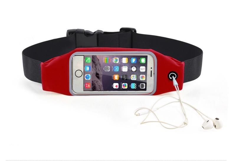 """Sportovní voděodolné pouzdro / ledvinka na pas na mobilí telefon - univerzální (4.7"""") Barva: Červený"""
