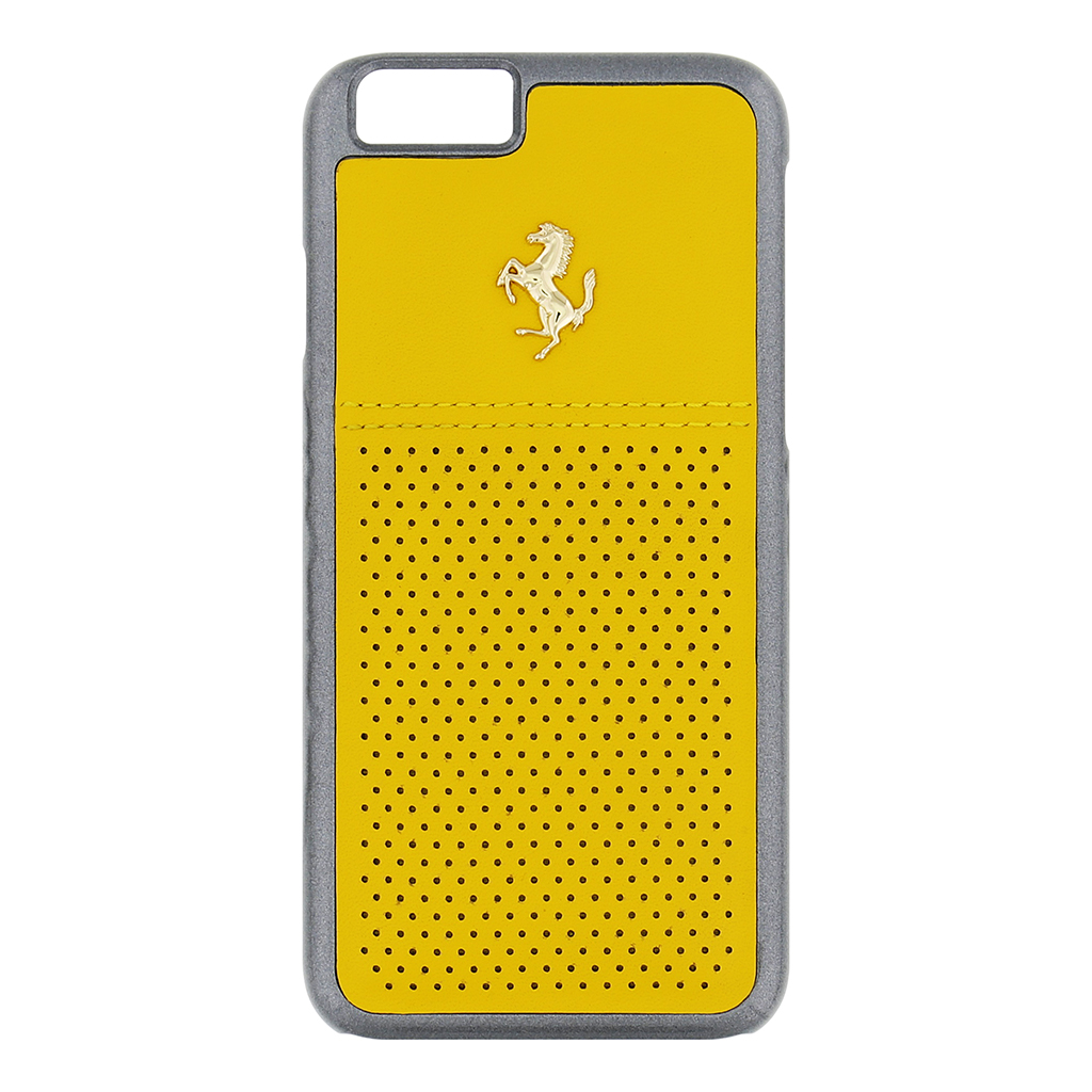 Kryt Ferrari GTB Leather Hard Case Yellow pro iPhone 6/6S