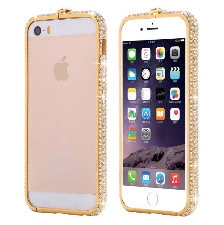 Kryt / Rámeček Diamond Steel Shield pro iPhone 5/5S/SE - Gold
