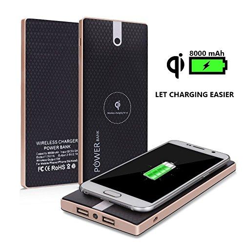 Externí baterie Wireless PowerBank 8000 mAh s bezdrátovou nabíječkou QI Black