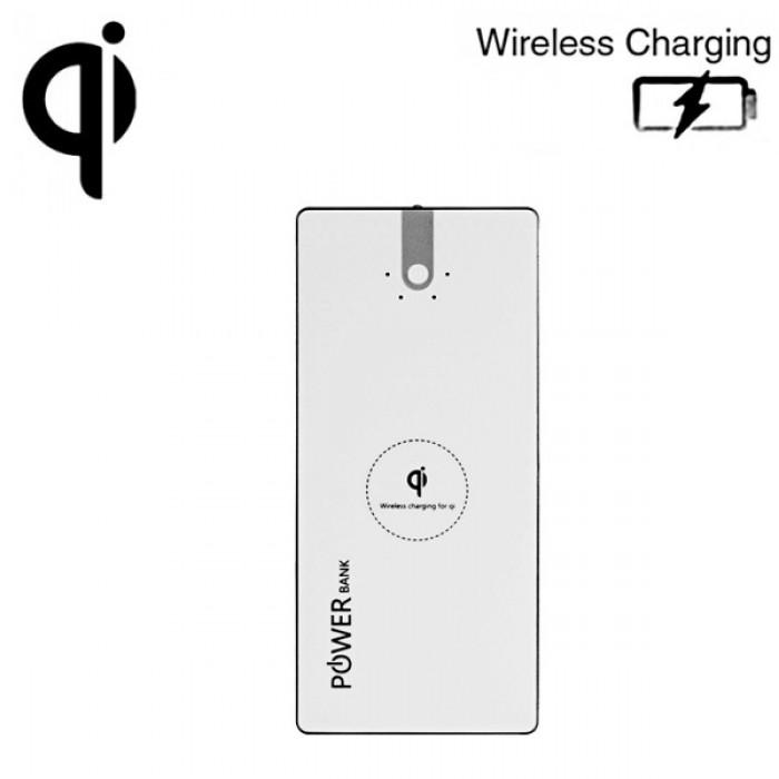 Externí baterie Wireless PowerBank 8000 mAh s bezdrátovou nabíječkou QI White
