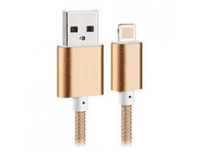 USB kabel Bastec Nylon Lightning pro Apple iPhone 5/5S/5C/SE a 6/6S, 6 Plus/6S Plus a iPad - 1,5m GOLD