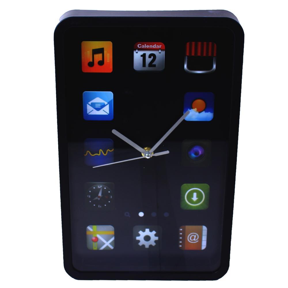 Nástěnné hodiny iPhone (černé / bílé) Barva: Černý