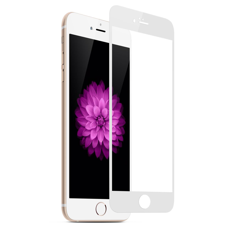 Tvrzené 3D sklo Clearo zaoblené barevné na celý displej pro iPhone 6/6S Barva: Bílý